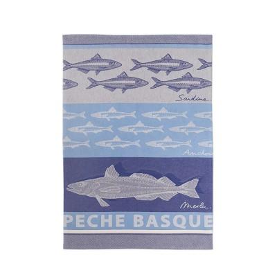 Torchon Arnaga Pêche Basque Bleu - Jean-Vier