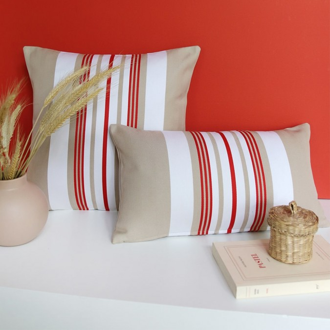 Cushion cover Donibane beige and red