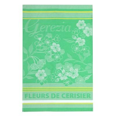 Torchon Arnaga Fleurs de cerisiers Menthe - Jean-Vier