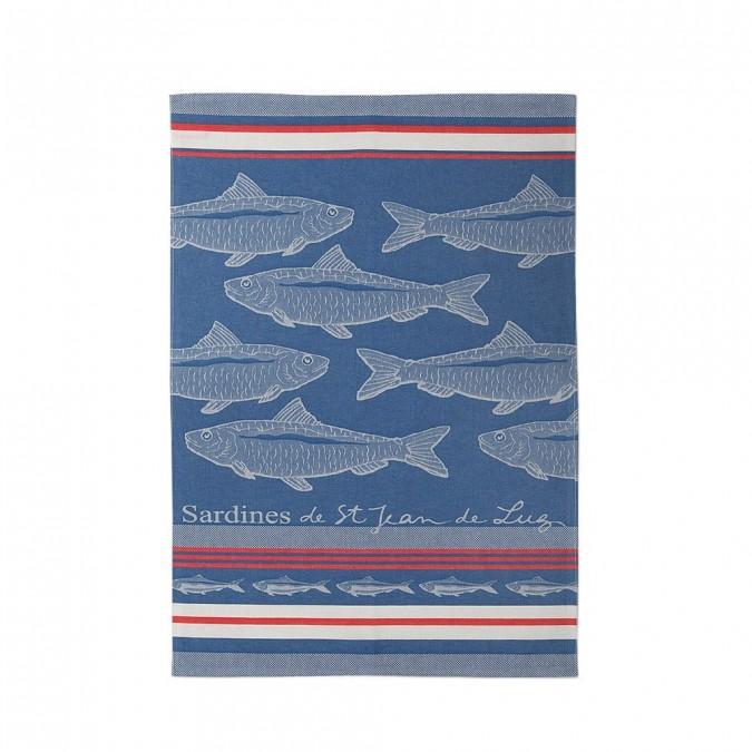 Kitchen towel Arnaga Sardine de St-Jean-de-Luz Bleu - Jean-Vier