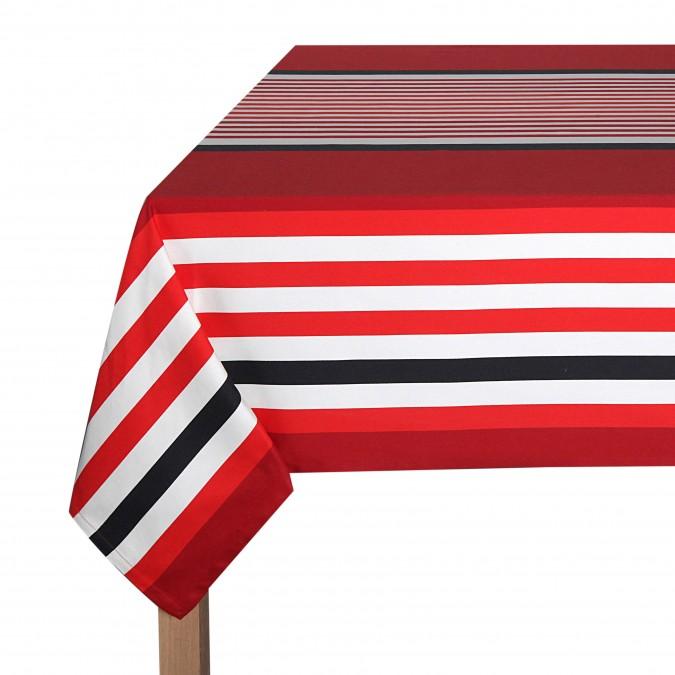 Nappe Ainhoa rayures de couleur rouge et blanc