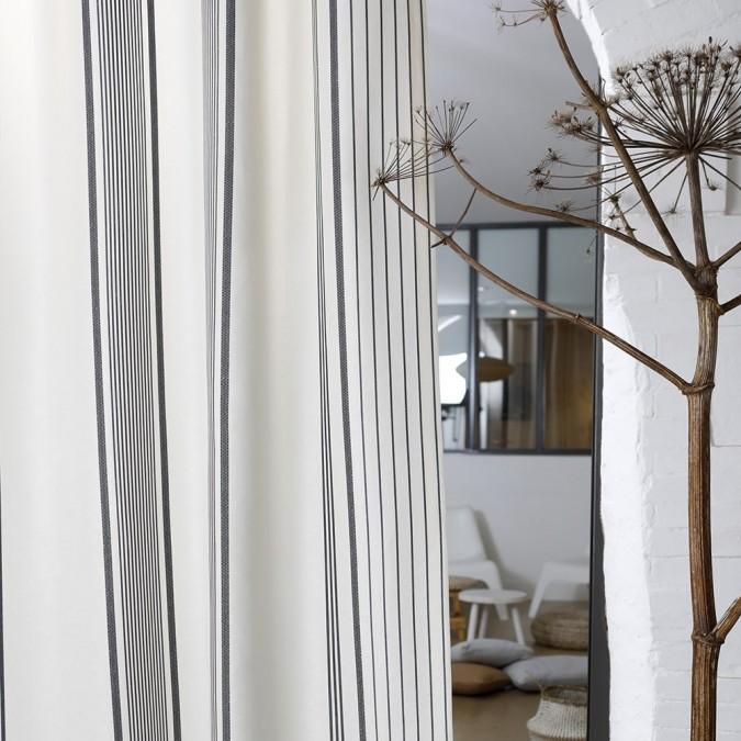 White and black cotton Berrain curtain