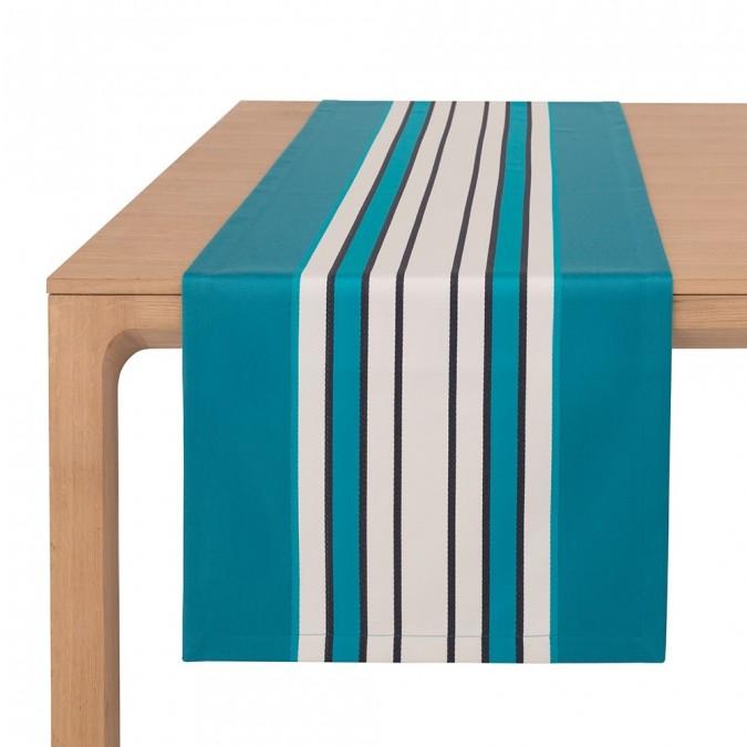 Chemin de table Espelette Bleu Paon - Jean-Vier