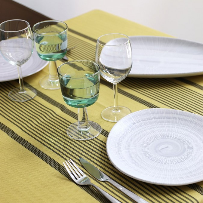 Tablecloth Berrain Absinthe 50% linen 50% cotton
