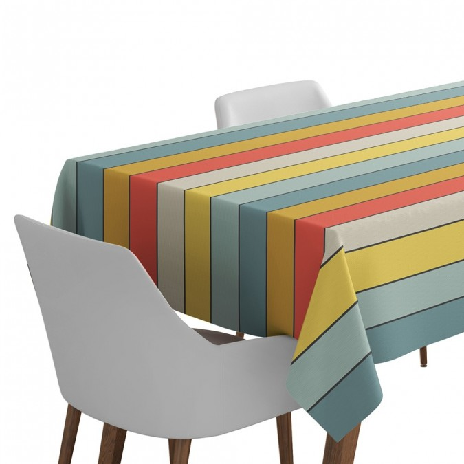 Coated tablecloth ostabat multicolor - Jean-Vier