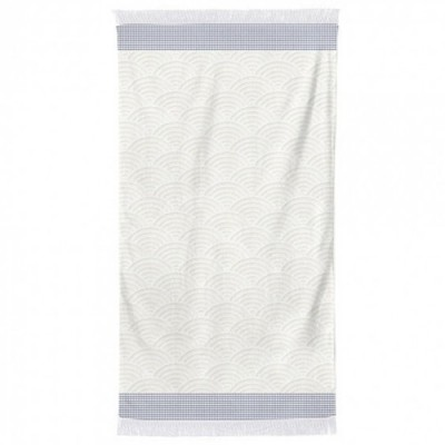 Bath sheet and Beach towel Artea Ecru-Marine - Jean-Vier