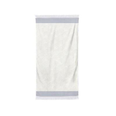 Bath towel Artea navy and ecru