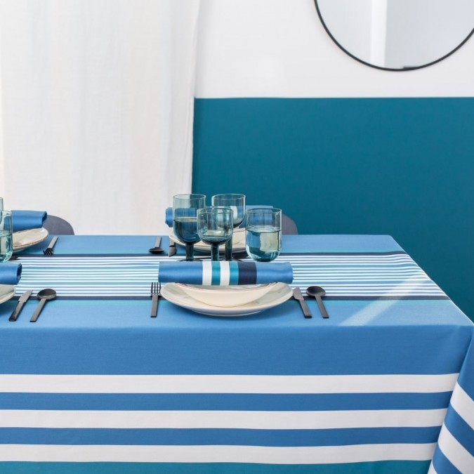 Nappe en coton couleur bleu atlantique