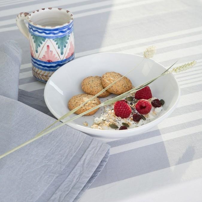 Nappe de table Ascain rayures grises et blanches