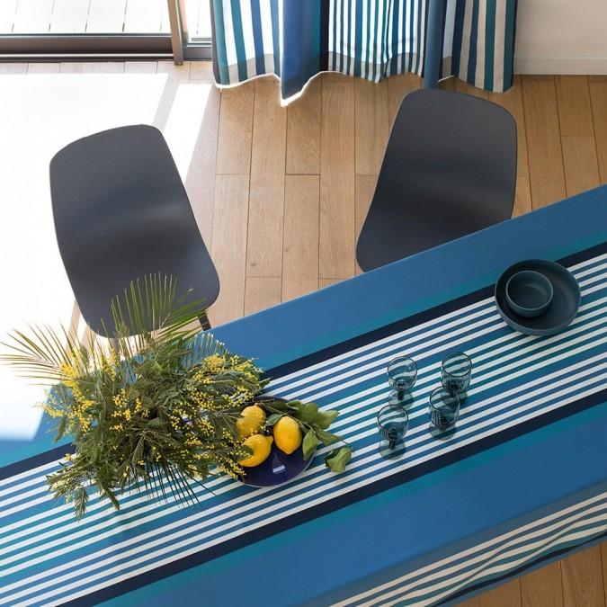 Nappe de table en coton et rayures bleu