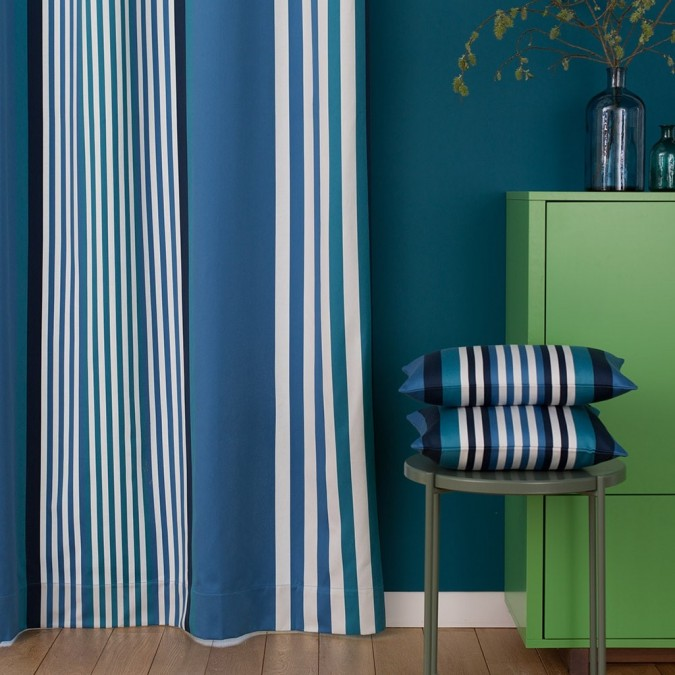 Curtain cotton Ainhoa blue stripes