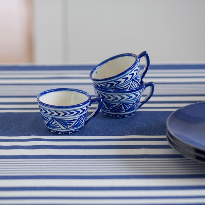 Tablecloth Ascain blue and white stripes