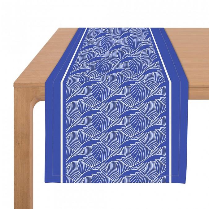 Camiso de mesa Bilbatu vagues azul - Jean-Vier