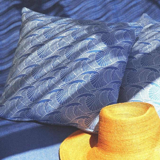 Funda de cojín Bilbatu azul 100% algodón