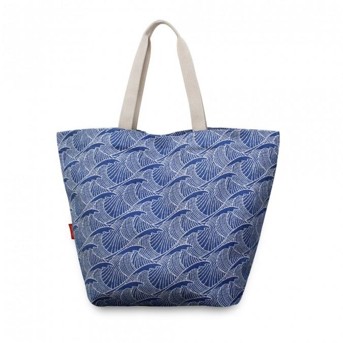 Einkaufstasche Bilbatu vagues blau - Jean-Vier