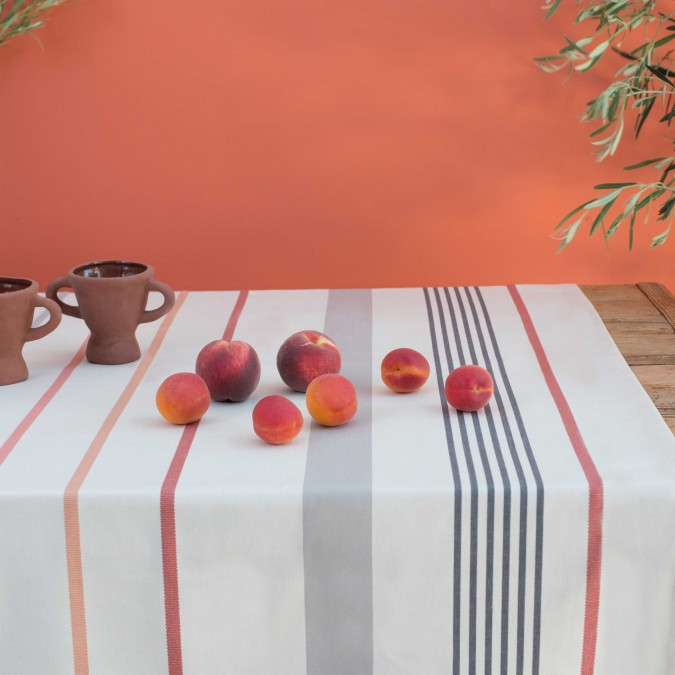 Ustaritz Tablecloth in terracotta colours
