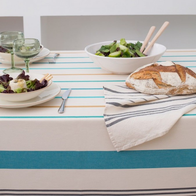 Tablecloth in cotton and green Ustaritz stripes