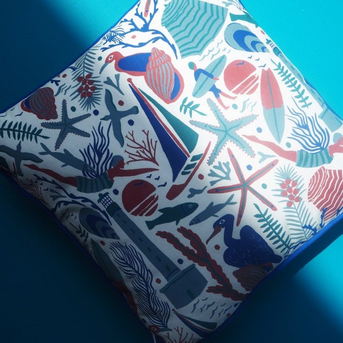 Housse de coussin Udako motifs océan