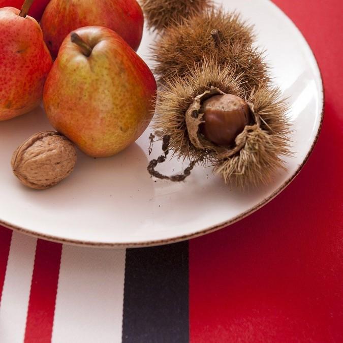 Nappe de table Ainhoa couleur rouge et rayures blanches