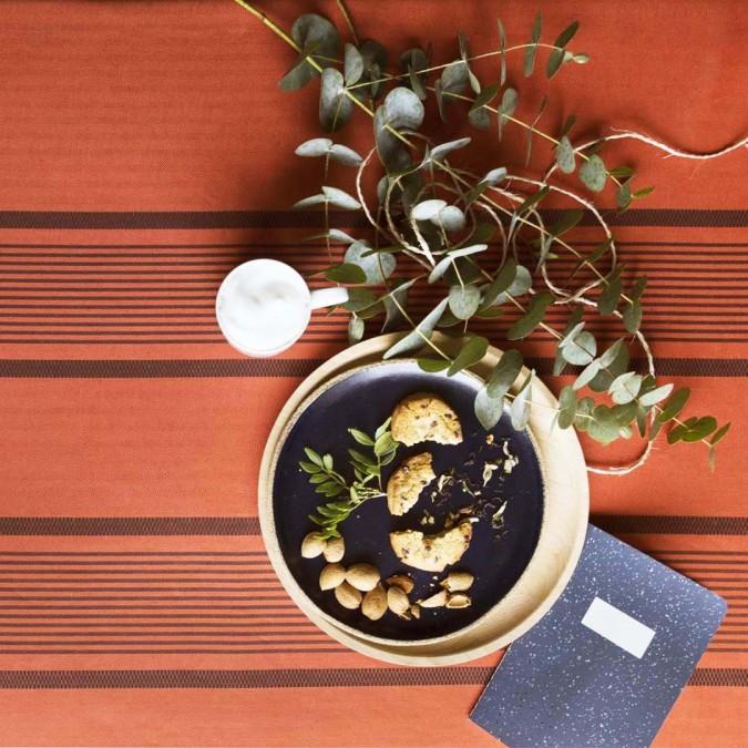 Tablecloth Berrain Mandarine in cotton and linen