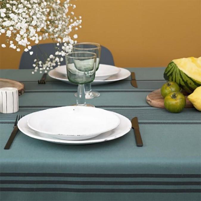 Berrain Pétrole 50% linen and 50% cotton tablecloth