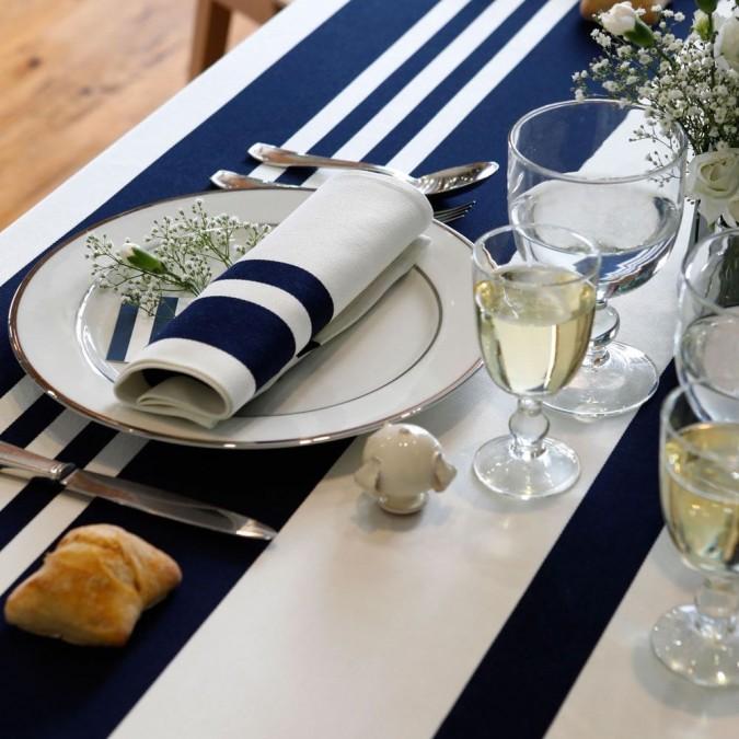 Tablecloth Pampelune stripes ink blue