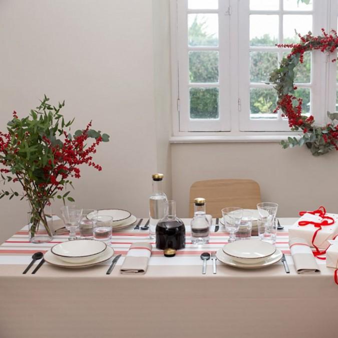 Nappe de table Donibane 100% coton couleur fraise