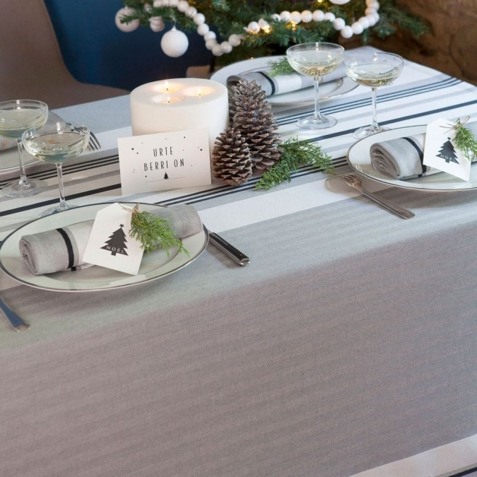 Grey Donibane tablecloth and herringbone weave
