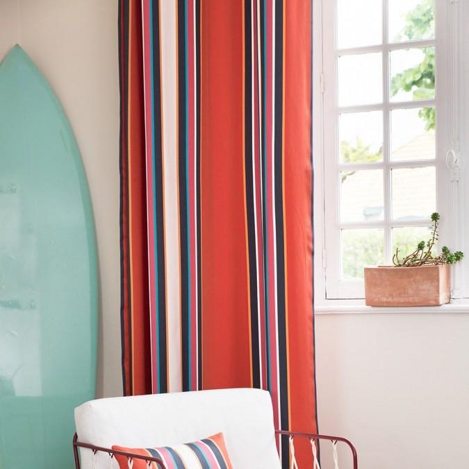 Cotton satin curtain Espelette red color