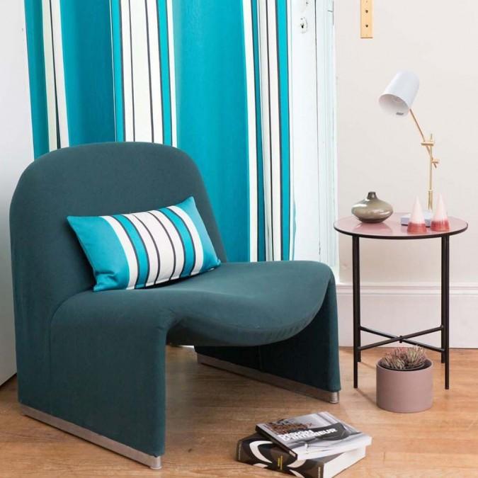 Cotton curtain Espelette color blue
