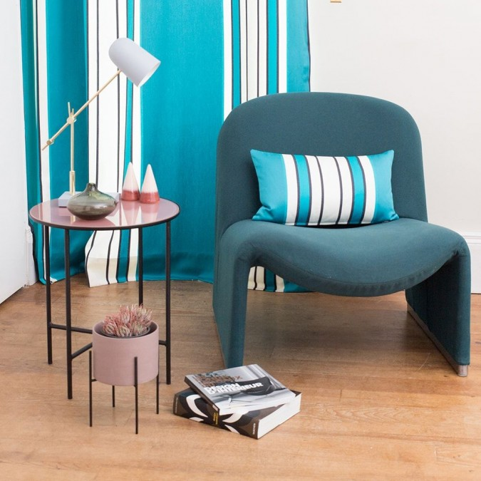 Curtain Espelette blue stripes