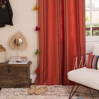 Orange Berrain cotton curtain