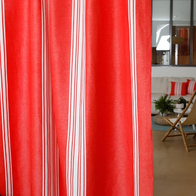 Cotton and linen curtain Saint-Jean-De-Luz red