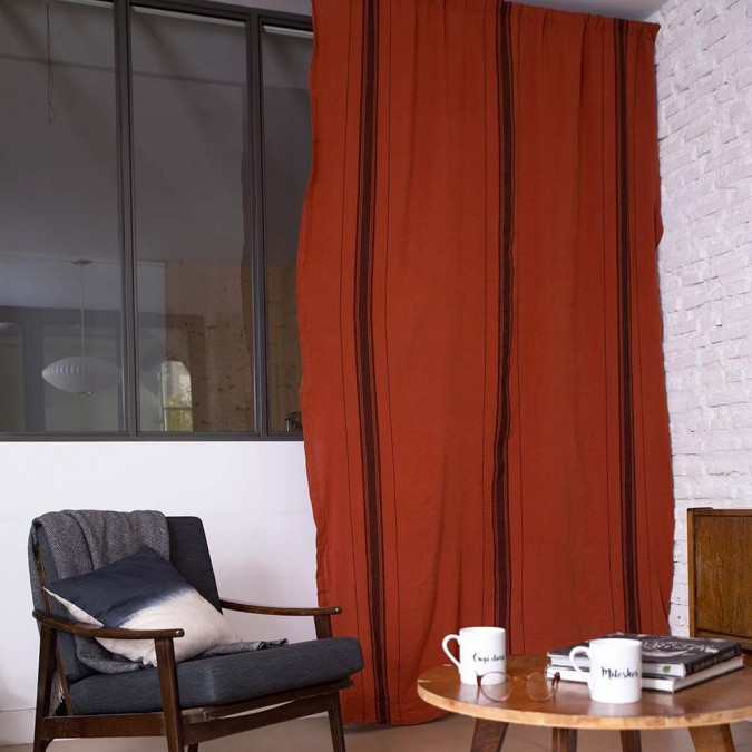 Beaurivage Curtain in brown linen color