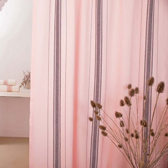 Curtain in light linen Beaurivage pink color