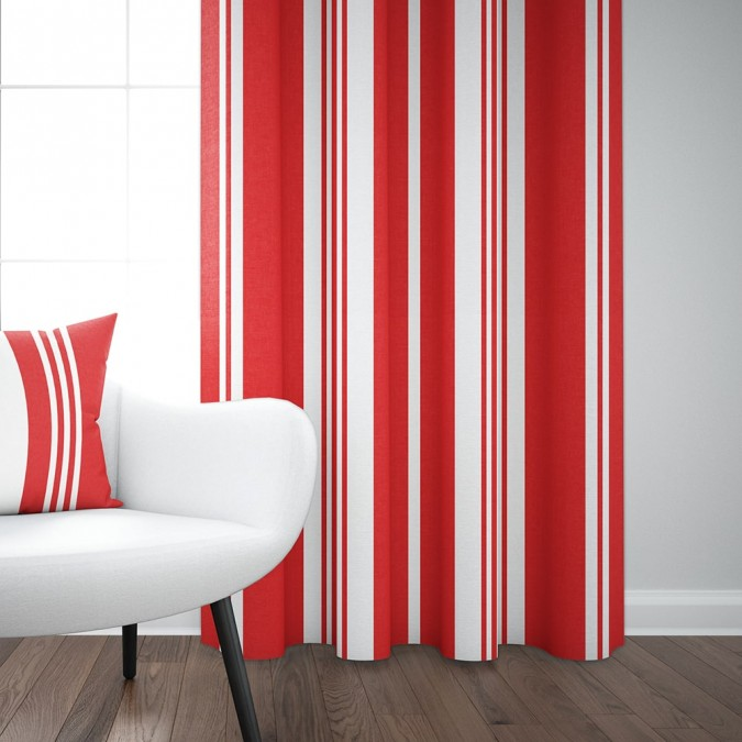 Cotton curtain Pampelune color Garance