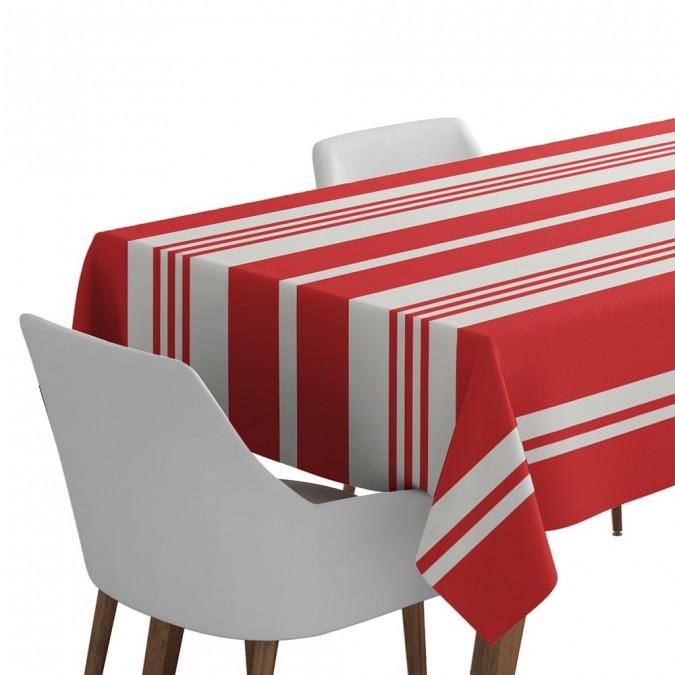 Mantel con rayas y de color rojo