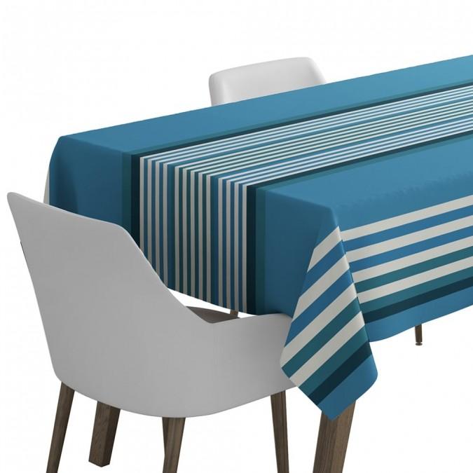 Nappe de table Ainhoa couleur bleu de l'océan