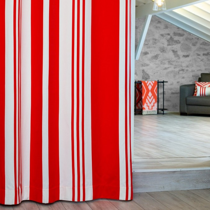 Curtain Pampelune stripes red colour