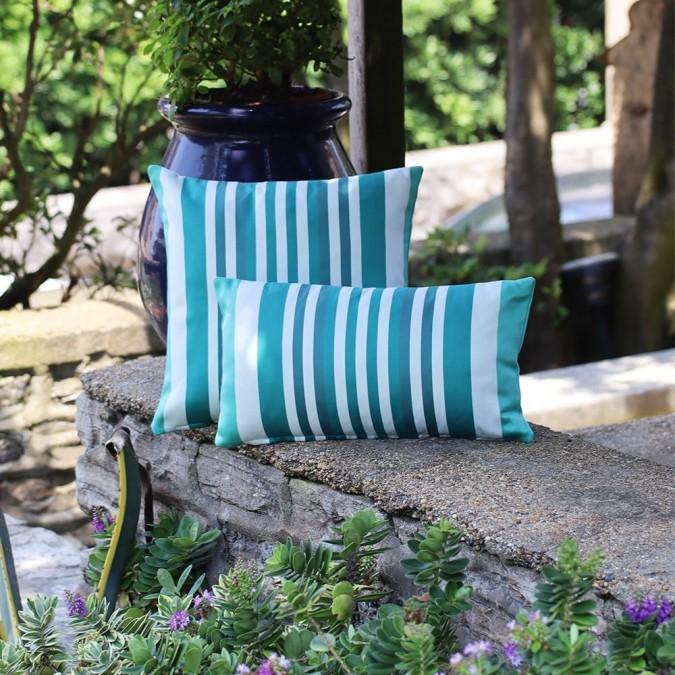Cushion cover Ainhoa green stripes