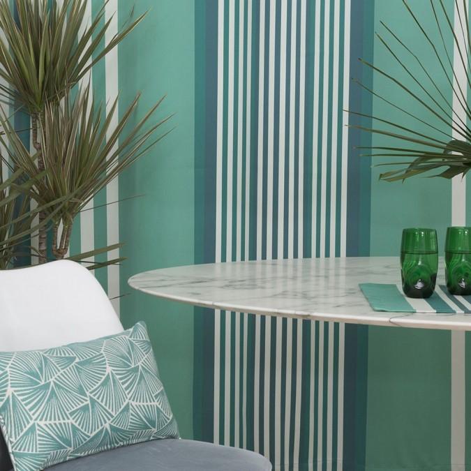 Ainhoa cotton curtain with celadon stripes