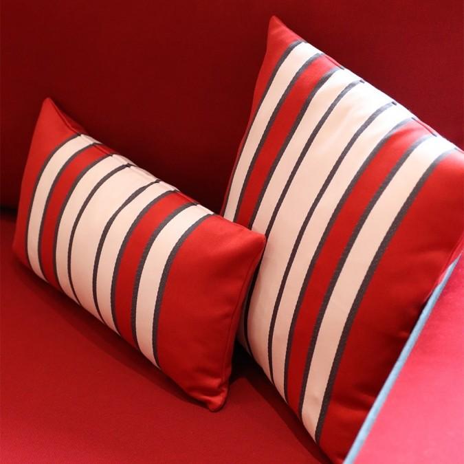 Housse de coussin Espelette rayures rouges