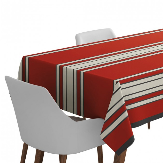 Tablecloth Espelette red color