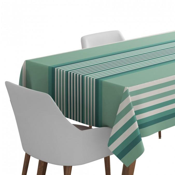 Nappe de table couleur celadon et tissage Jacquard