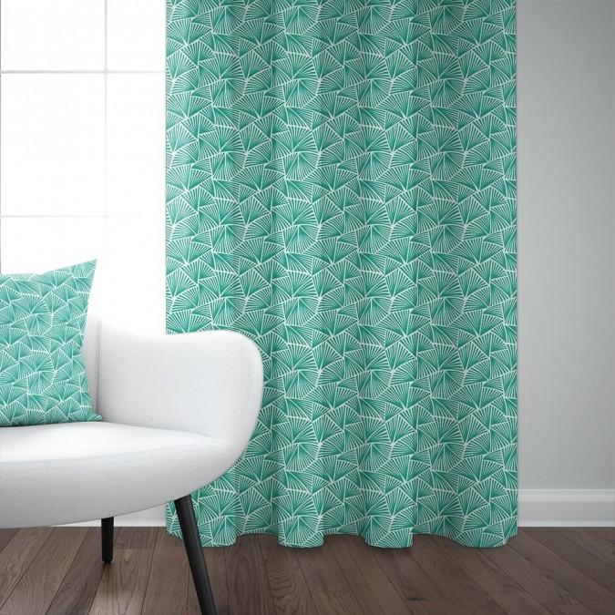 Palma cotton curtain Émeraude color
