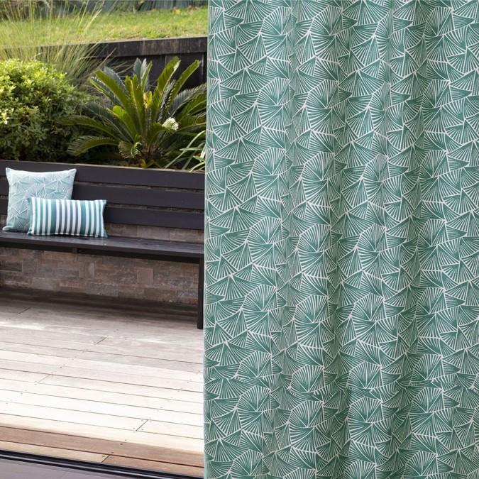 Palma curtain in blue Jacquard weave