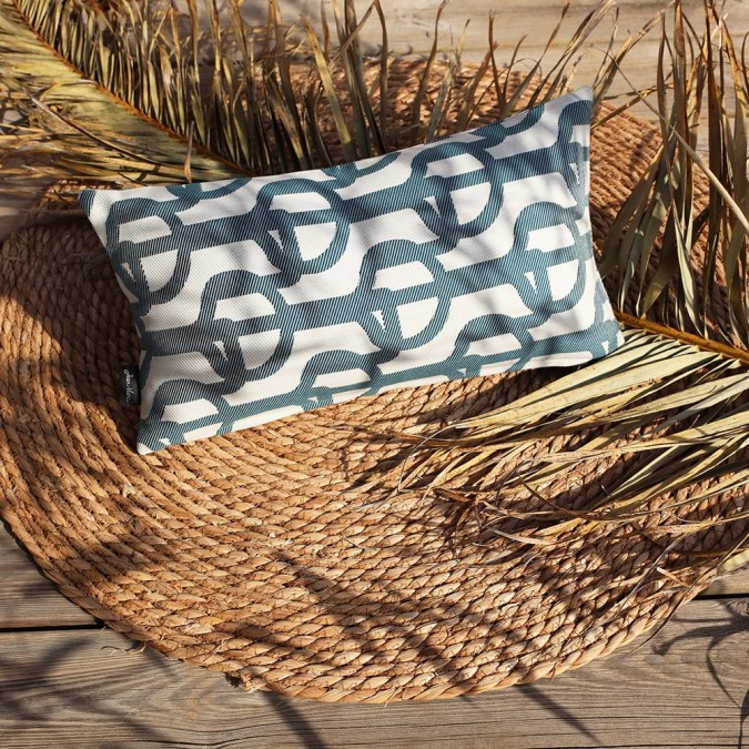 Cushion cover in jacquard weave Amarra petrole weave