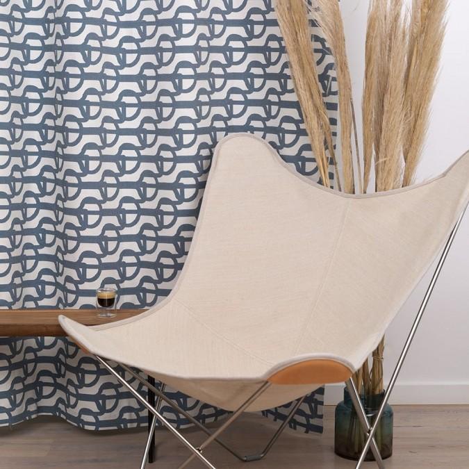 Cortina tejida con patrones de Jacquard y Amarra