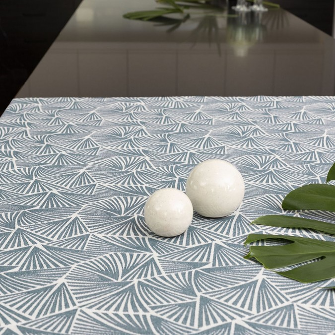 Petrol blue woven Jacquard tablecloth
