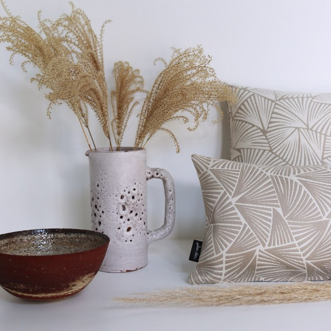 Housse de coussin Palma couleur beige